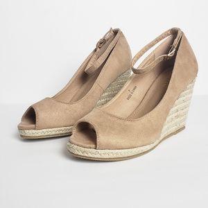 ♥️Kayleen Taupe Ankle Strap Espadrille Wedge Heels